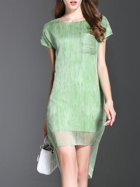Green Statement Crew Neck Midi Dress
