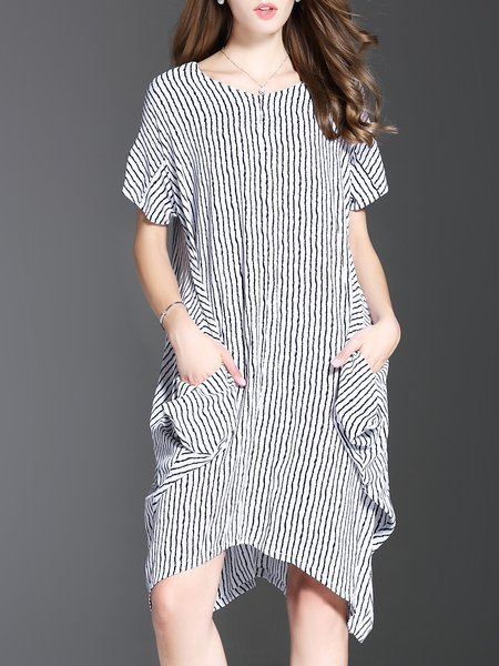 White Stripes Short Sleeve Pockets Midi Dress