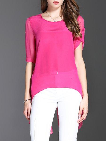 Fuchsia Silk Half Sleeve Tunic