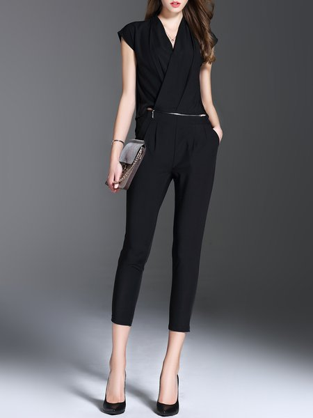 Black V Neck Sleeveless Cotton-blend Jumpsuit