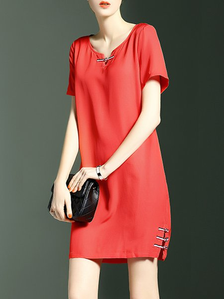 Keyhole H-line Simple Short Sleeve Mini Dress