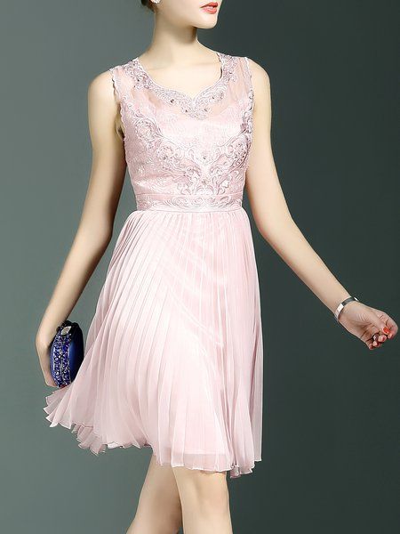 Sleeveless Floral A-line Pleated Elegant Mini Dress