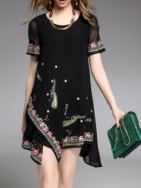 Plus Size Embroidered Shorts Sleeve Vintage Chiffon Dress