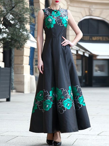 Black Crew Neck Sleeveless Maxi Dress