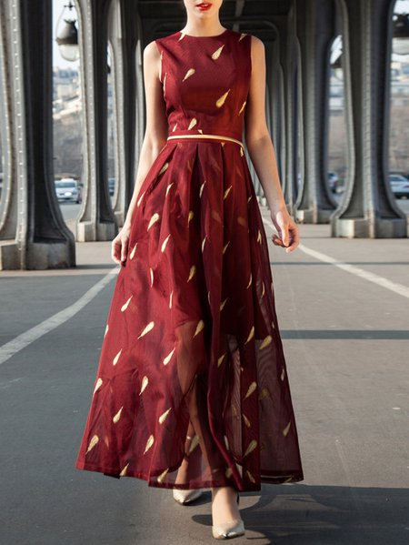 Burgundy Vintage A-line Crew Neck Printed Maxi Dress