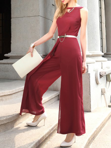 Red Simple A-line Cutout Jumpsuit