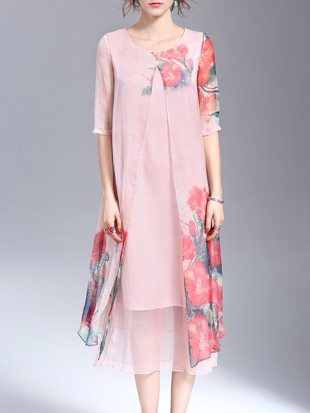 Pink Half Sleeve Floral-print Midi Dress