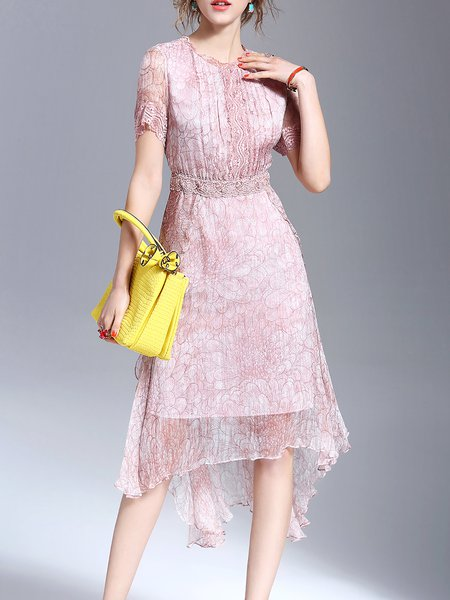 Pink Crew Neck Floral Floral-print Casual Midi Dress