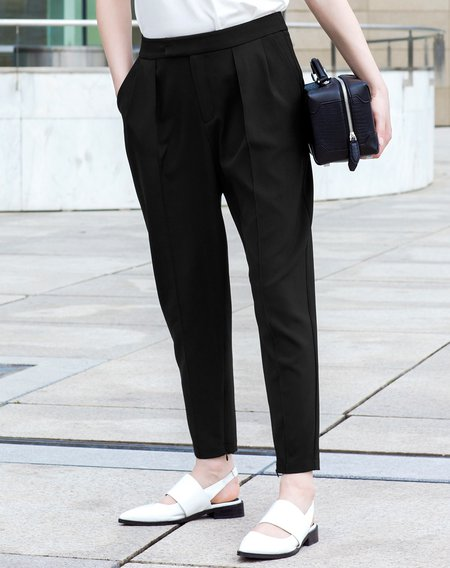 Black Work Polyester Straight Leg Pant