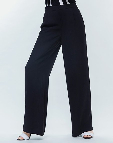 Black Work Polyester Plain Wide Leg Pant