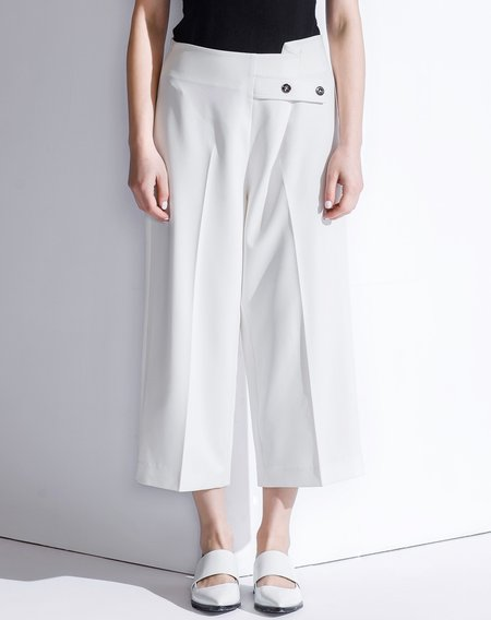 White Work Asymmetric Spandex Plain Wide Leg Pant