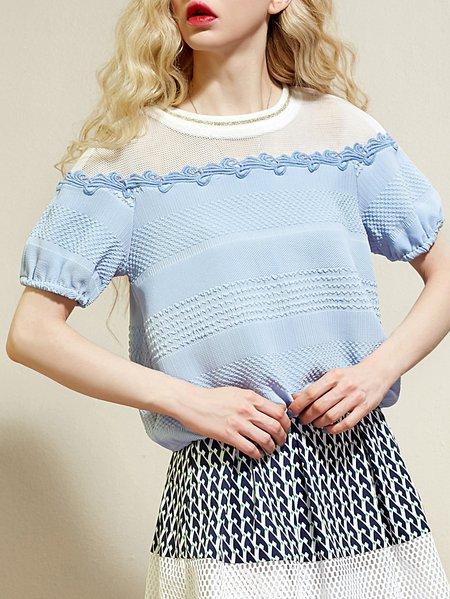 Street Short Sleeve Crew Neck Shift Blouse