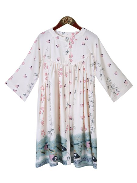 Polyester Long Sleeve Printed Cute Shirt Dress
