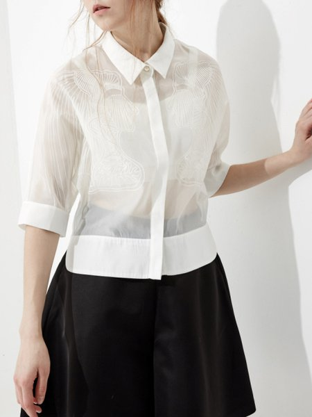 White Abstract Printed V Neck Work Blouse