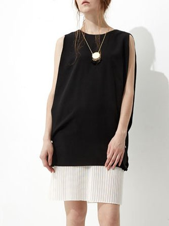 Black Shift Sleeveless Buttoned Crew Neck Midi Dress
