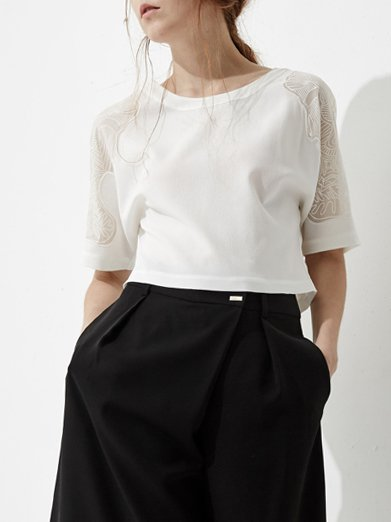 White Polyester Batwing Cropped Top