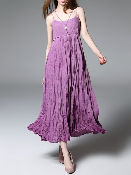 Purple Swing Ribbed Spaghetti Midi Dress