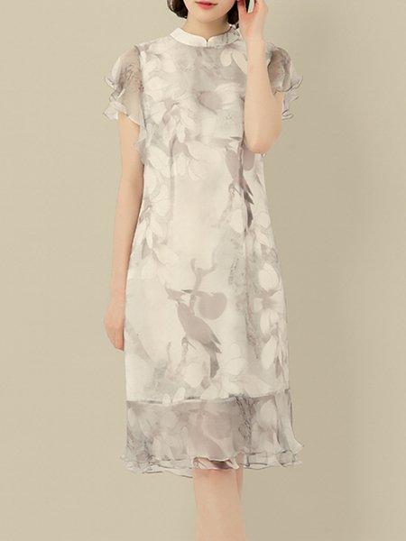 Silk Vintage Floral Frill Sleeve Midi Dress