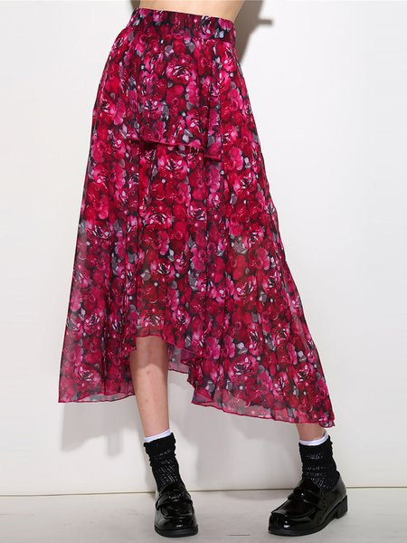 Red A-line Floral-print Casual Floral Midi Skirt