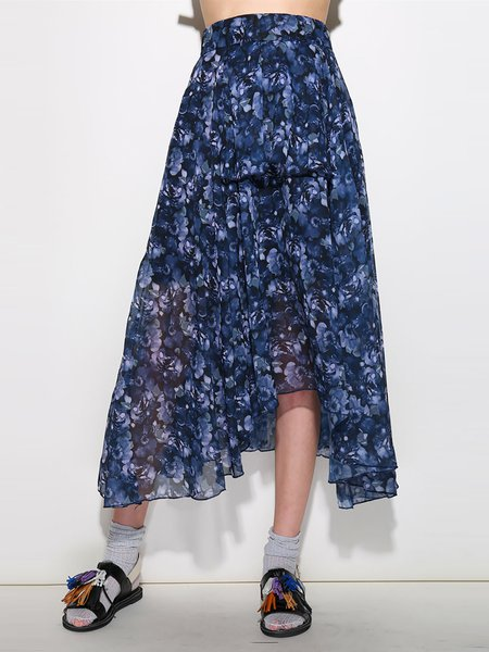 Navy Blue Floral-print A-line Casual Polyester Midi Skirt