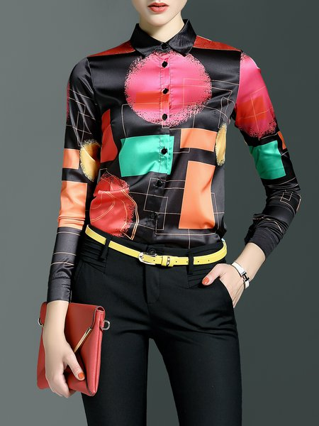 Black Casual H-line Geometric Blouse