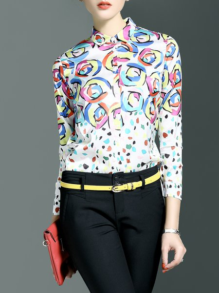 Long Sleeve Abstract Casual H-line Blouse