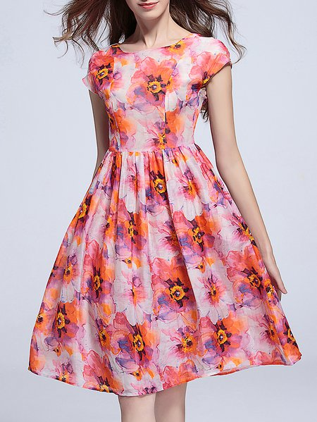 Red Floral A-line Silk Short Sleeve Midi Dress