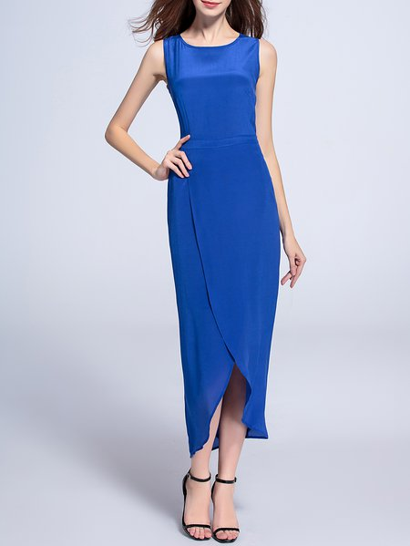 Plain Cocktail Shift Sleeveless Asymmetric Midi Dress