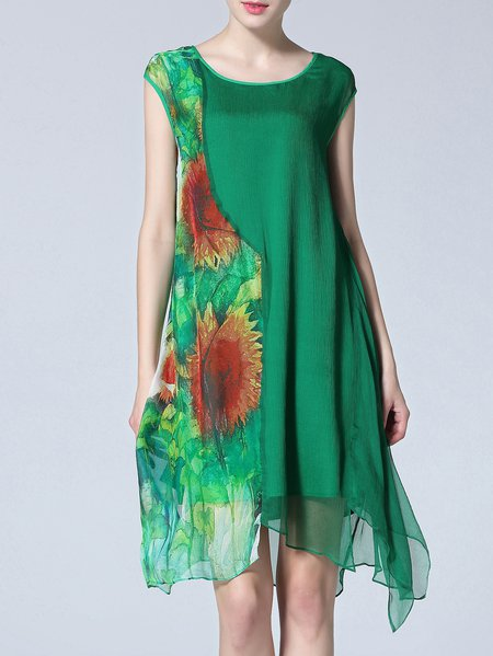 Green Sleeveless Silk Shift Midi Dress