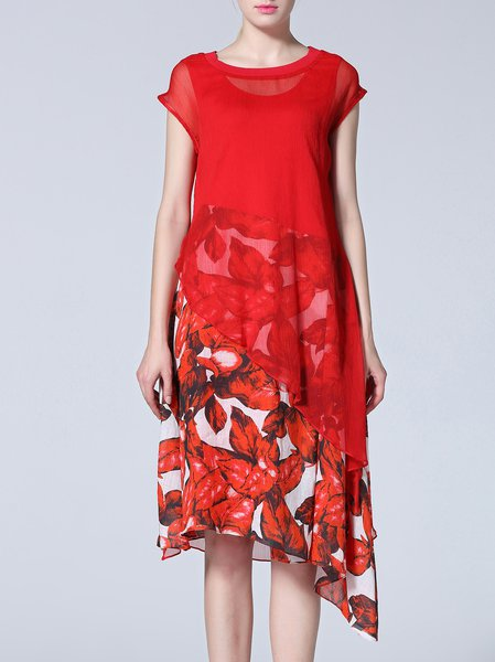 Red Floral-print Short Sleeve Crew Neck Midi Dress