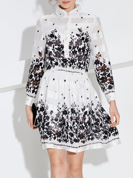 White Long Sleeve Polyester Floral Midi Dress