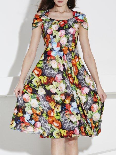 Off-shoulder Spaghetti Short Sleeve Casual Midi Dress