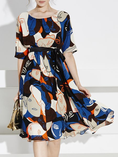 Multicolor Short Sleeve Abstract Printed Polyester Midi Dress