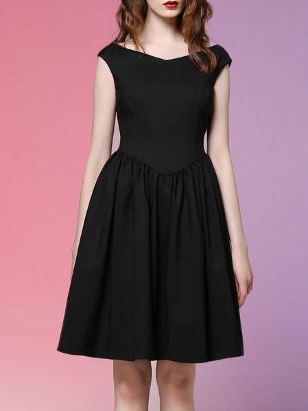 Simple Cotton Sleeveless Plain Zipper Mini Dress