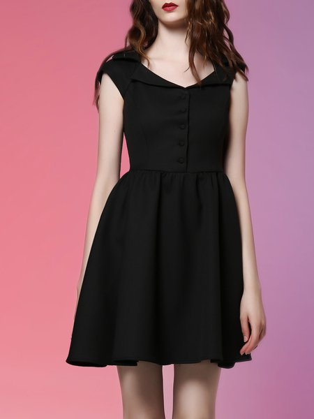 Plain Casual Short Sleeve Lapel Mini Dress