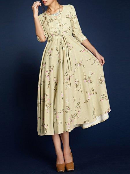 Floral-print Sleeveless Casual Floral Cotton-blend Midi Dress
