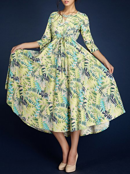 Green  Floral Beach V Neck Midi Dress