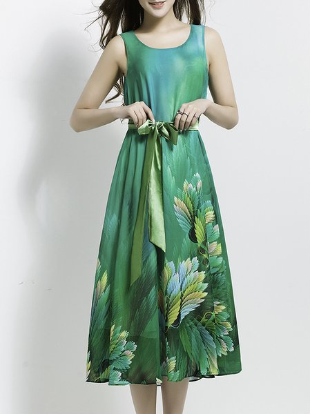 Blue A-line Floral Polyester Sleeveless Midi Dress