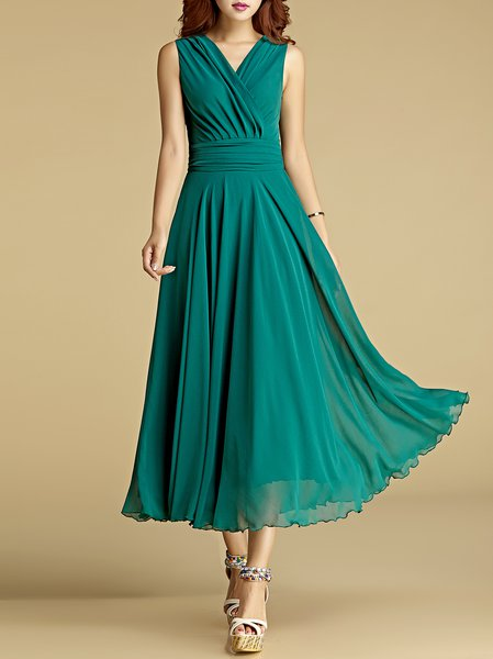 Green Elegant Solid Ruched Swing Maxi Dress