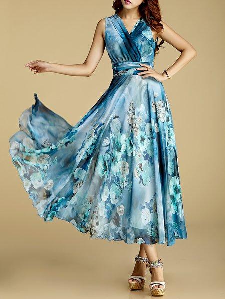 Chiffon Swing Beach Sleeveless Maxi Dress
