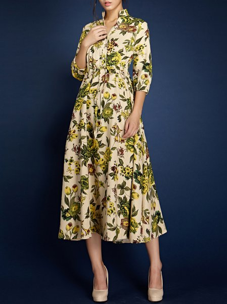 Casual Half Sleeve A-line Floral Midi Dress