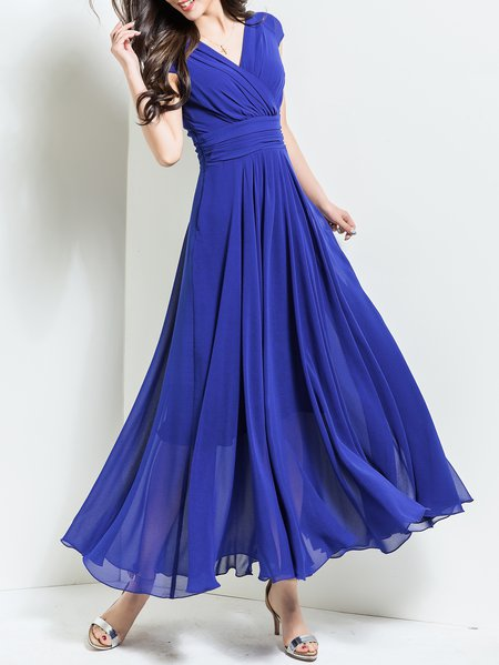 Blue Elegant Solid V Neck Maxi Dress
