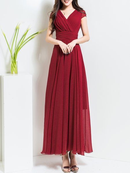 Chiffon Boho Folds A-line Short Sleeve Maxi Dress