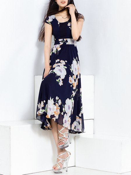 Navy Blue Swing Short Sleeve Midi Dress