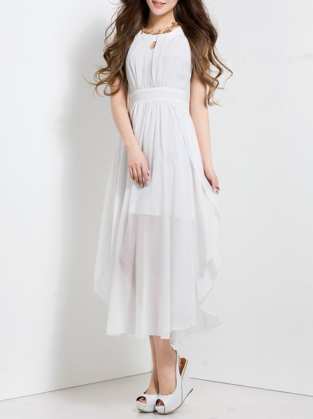 White Chiffon Sleeveless Crew Neck Midi Dress