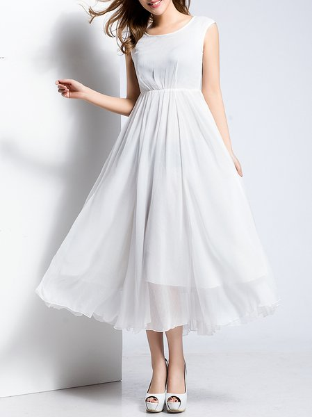 White Plain Sleeveless Folds Swing Maxi Dress