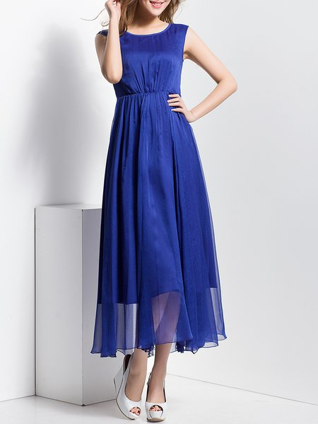 Folds Crew Neck Casual Sleeveless Maxi Dress