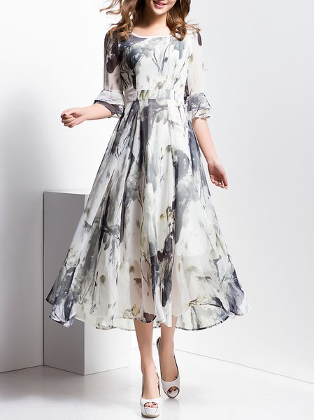 Crew Neck Half Sleeve Floral Vintage Maxi Dress