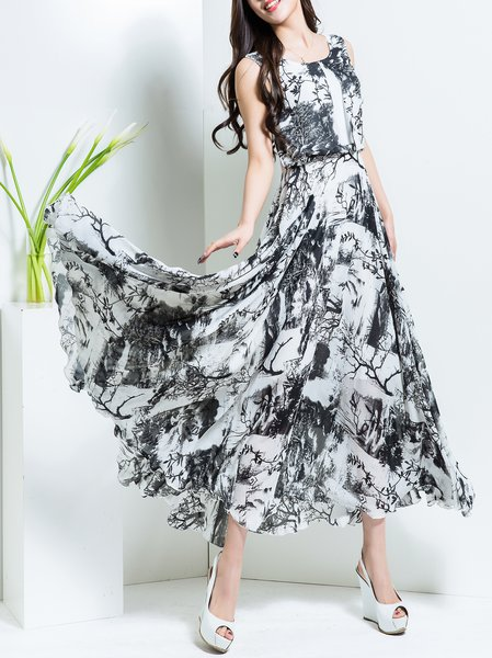Sleeveless Swing Casual Floral Maxi Dress