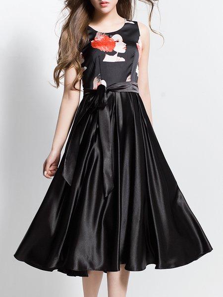 Floral-print Sleeveless Polyester  Midi Dress